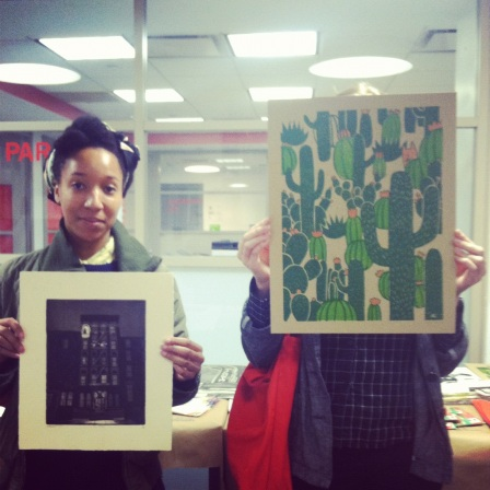 Morgan and Hillary being adorable holding up their buys! Look at that awesome Silkscreen!