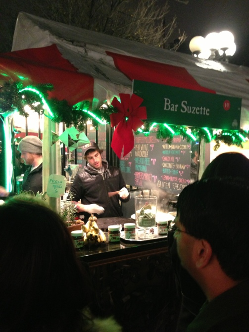 A crepe stand is only one of the many food vendors at the market