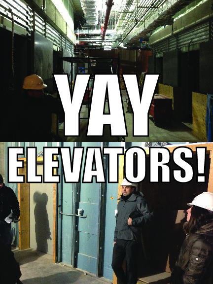 7 spacious elevators!  Woo!