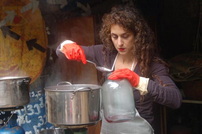 Laura making textile dyes in Tiblisi, The Republic of Georgia