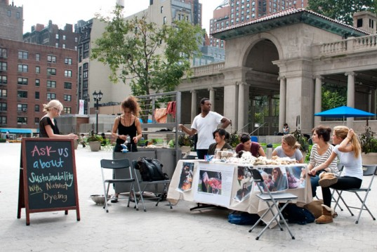 Laura in Union Square with the mobile Textile Lab