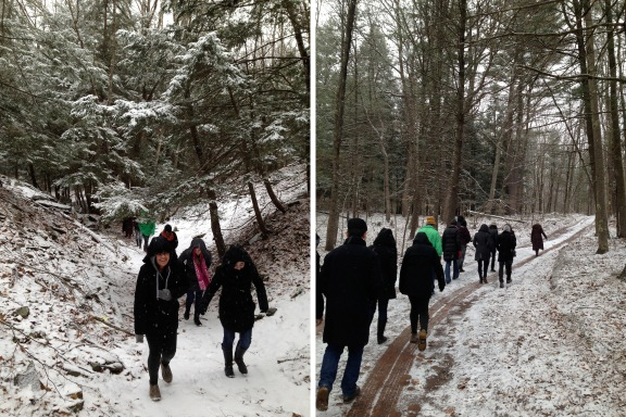 Walking in a winter wonderland during our tour of the property