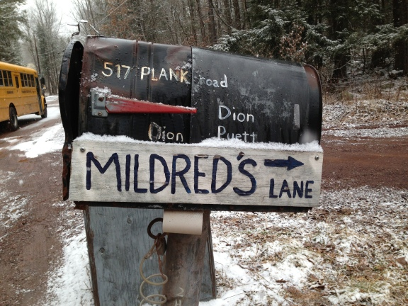 A rusty mailbox with a hand-painted sign points down a winding dirt road to Mildred's Lane