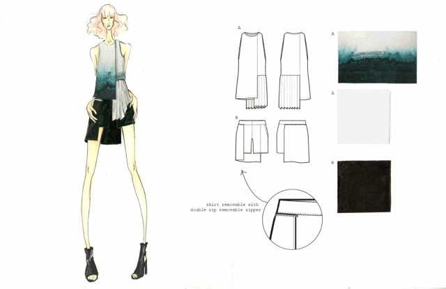 Process image from Danielle's sketchbook for her SS14 preview collection