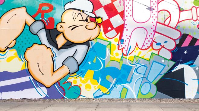 Popeye inspired mural by Crash