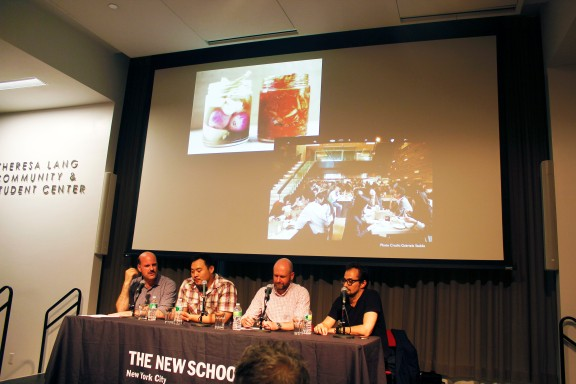 From L-R: Mitchell Davis (Executive Vice President of the James Beard Foundation), David Chang (Chef and Founder of Momofuku), Drew Solomon (President and Co-owner of Momofuku), and Anwar Mekyach (Architect and Co-founder of The Design Agency)