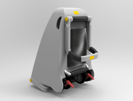 A final CGI rendering of Daulton's stroller, shown standing upright.