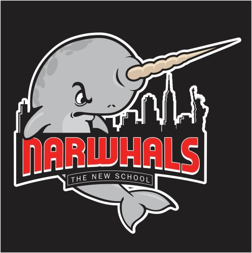 A Unicorn+Whale also known as the New School mascot, the Narwhals