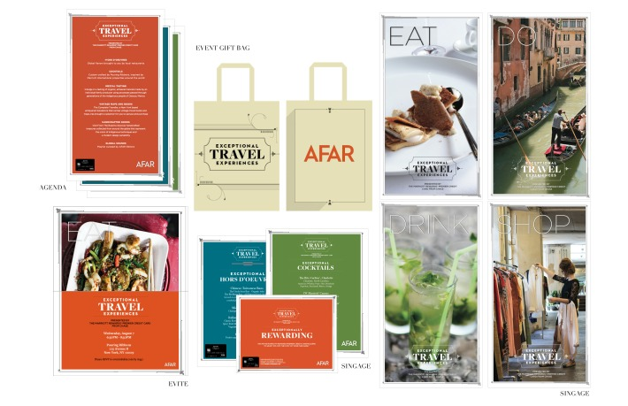 Event and promo design by Chris for Afar magzine's 2013 exceptional travel experiences event