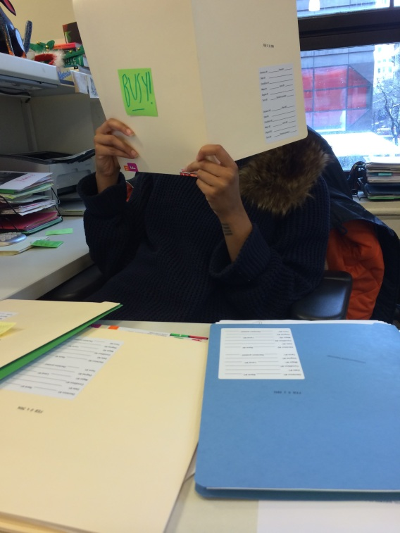 Morgan came through the snow, ice and snow rain to get to the office to read her files!