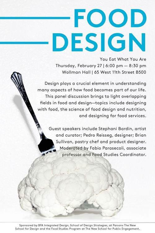Poster for the food design event at Parsons