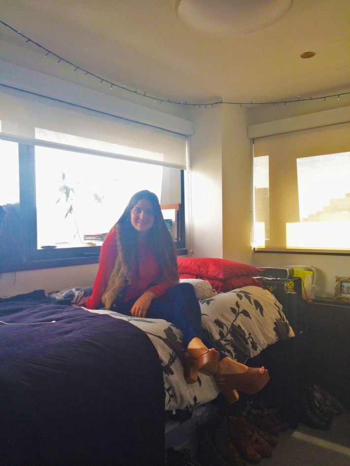 Anna in her dorm at Kerrey Hall!