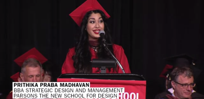 Prithika delivering her speech at the commencement ceremony