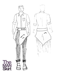 The initial sketch of 'The Man Skirt,' along with a logo created for the garment.